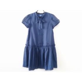 バーバリーブルーレーベル Burberry Blue Label ワンピース サイズ38 M レディース ネイビー リボン【中古】20190820