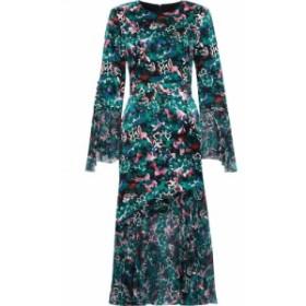 プラバル グルン PRABAL GURUNG レディース ワンピース ワンピース・ドレス Printed chiffon-paneled silk-satin dress Emerald