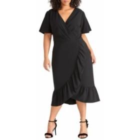 レイチェル ロイ RACHEL RACHEL ROY レディース ワンピース ワンピース・ドレス Scuba Crepe Faux Wrap Dress Black