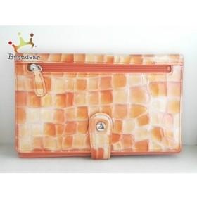 コッコフィオーレ COCCO FIORE 長財布 ベージュ×オレンジ  型押し加工 エナメル(レザー)  新着 20190823