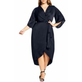 シティーシック CITY CHIC レディース ワンピース ワンピース・ドレス Opulent Hammered Satin Wrap Style Dress Midnight