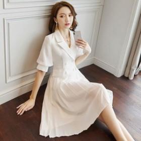 結婚式のスタイル ドレス パーティードレス 大きいサイズ 白 ワンピース フリルスカート パフスリーブ 膝丈 清楚 人気 大人 おしゃれ 半