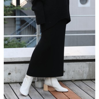 【トゥモローランド/TOMORROWLAND】 ウーステッドウールリブ Iラインミディスカート