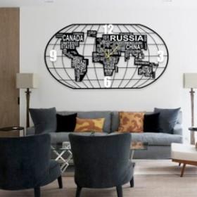 世界地図時計大金属壁時計モダンデザインアイアンアート3D装飾ぶら下げ時計壁時計家の装飾100 220 x 120 cm Wood