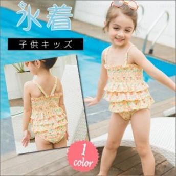 水着 女の子 新作 ワンピース 夏 海 子供 キッズ 花柄 かわいい 体型カバー メール便送料無料