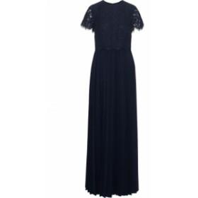 ミカエル アガール MIKAEL AGHAL レディース パーティードレス ワンピース・ドレス Layered corded lace and chiffon gown Navy