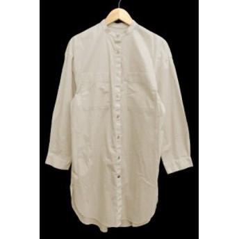 【中古】マウジー moussy ワンピース シャツ ひざ丈 バンドカラー 長袖 F オフホワイト /AN1 レディース