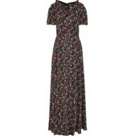 ミカエル アガール MIKAEL AGHAL レディース ワンピース ワンピース・ドレス Floral-print metallic georgette maxi dress Black