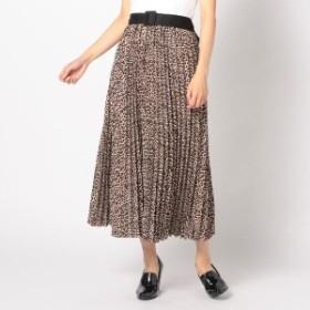 アンレリッシュ(UNRELISH)/ベルト付レオパードプリーツスカート