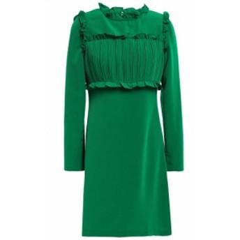 マージュ MAJE レディース ワンピース ワンピース・ドレス Pintucked ruffle-trimmed crepe mini dress Green