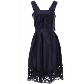 ケイト スペード KATE SPADE New York レディース ワンピース ワンピース・ドレス Lace-trimmed stretch-cotton poplin mini dress Navy