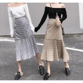 ドット柄グレンチェックスカート 韓国ファッション カジュアル ガーリー