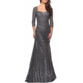 ラ ファム LA FEMME レディース パーティードレス ワンピース・ドレス Ruched Sequin Mermaid Gown Gunmetal