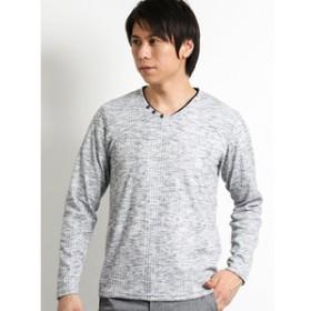 【m.f.editorial:トップス】トリッキーランダムテレコ フェイクVネック長袖Tシャツ