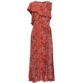 マージュ MAJE レディース ワンピース ワンピース・ドレス Layered asymmetric crepe de chine midi dress Tomato red