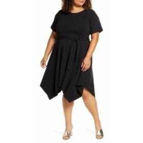 エロクイ ELOQUII レディース ワンピース ワンピース・ドレス Handkerchief Hem T-Shirt Dress Totally Black