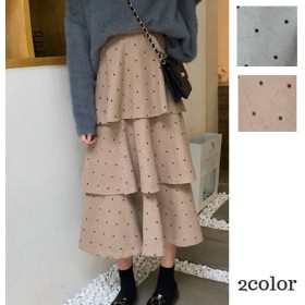 ドット柄フリルスカート 韓国ファッション レディース 春 秋