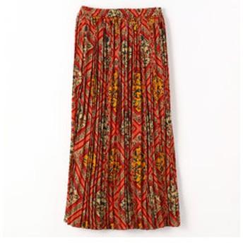 【NICOLE:スカート】エスニック柄ロング丈プリーツスカート