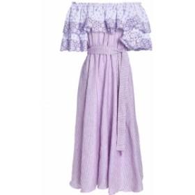 ギュル ヒュゲル GUL HURGEL レディース ワンピース ワンピース・ドレス Off-the-shoulder printed broderie anglaise linen midi dress