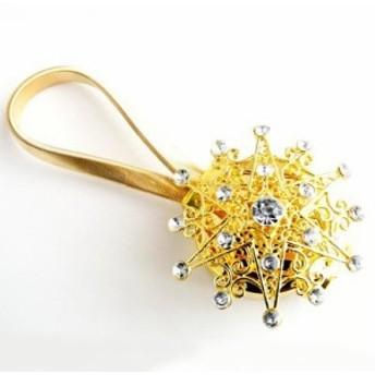 【訳あり】カーテンタッセル 星モチーフ キラキラ マグネット式 2個セット (ゴールド)