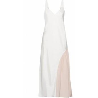 ティビ TIBI レディース ワンピース ワンピース・ドレス Crepe de chine-paneled twill midi slip dress Ivory