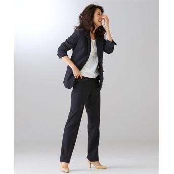 【リスピィシリーズ】洗えるタテヨコ2WAYストレッチロング丈パンツスーツ (大きいサイズレディース)スーツ,women's suits ,plus size