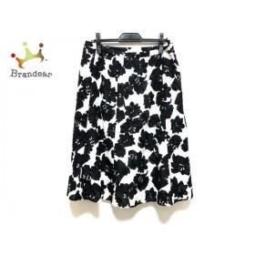 レリアン Leilian スカート サイズ13 L レディース 美品 黒×白 花柄/ウエストゴム 新着 20190914