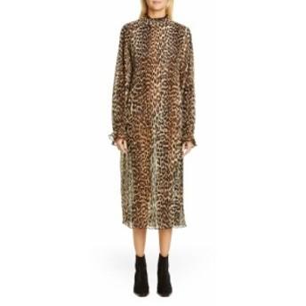 ガニー GANNI レディース ワンピース ワンピース・ドレス Leopard Print Sheer Georgette Long Sleeve Midi Dress Leopard