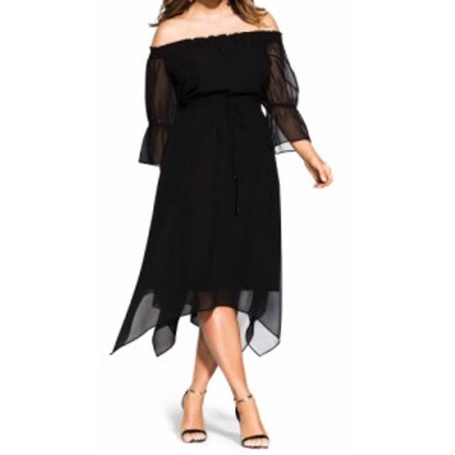 シティーシック CITY CHIC レディース ワンピース ワンピース・ドレス Reflections Off the Shoulder Midi Dress Black