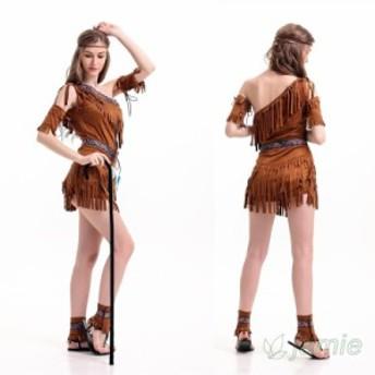 原住民民族風インディアン少女 仮装コスプレハロウィン 大人用  レディースセクシーイベント衣装 Halloween 舞台演出服ステージ服