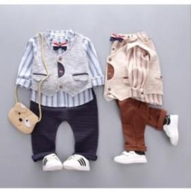 フォーマルスーツセット3点セット  ベビー服 赤ちゃん キッズ 子供 男の子  長袖 オシャレ タキシード 出産祝い  誕生日   結婚式 卒園