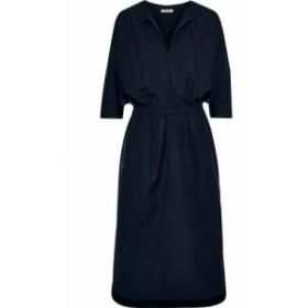 ジェイソンウー JASON WU レディース ワンピース ワンピース・ドレス Gathered cotton-blend poplin midi dress Midnight blue