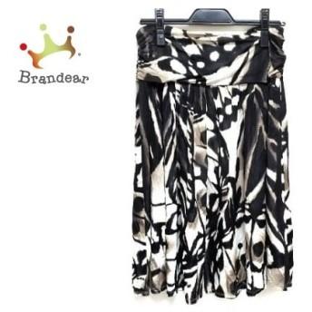 マックスマーラスタジオ スカート サイズS レディース 美品 黒×ダークブラウン×アイボリー 新着 20190823