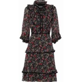 ミカエル アガール MIKAEL AGHAL レディース ワンピース ワンピース・ドレス Tiered velvet-trimmed floral-print georgette dress Multi
