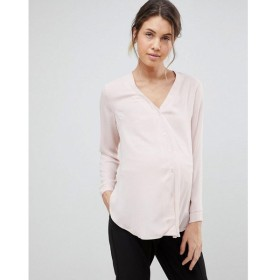 エイソス ASOS Maternity レディース ブラウス・シャツ トップス ASOS DESIGN Maternity long sleeve v neck blouse Blush