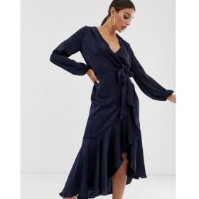 フラウンスロンドン Flounce London レディース ワンピース ワンピース・ドレス wrap front midi dress in navy Navy