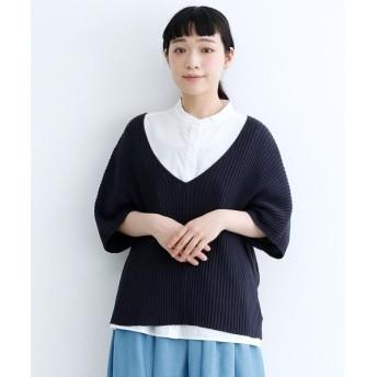 メルロー Vネックリブニットソー レディース ネイビー FREE 【merlot】