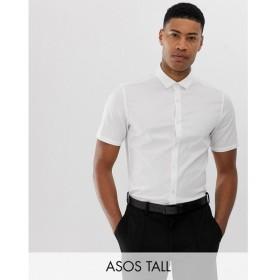 エイソス ASOS DESIGN メンズ シャツ トップス Tall wedding stretch slim herringbone shirt in white White