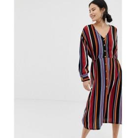 ピンキー Pimkie レディース ワンピース ワンピース・ドレス button front midi dress in stripe Stripes