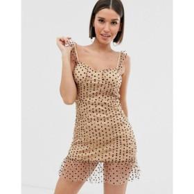 プリティリトルシング PrettyLittleThing レディース ボディコンドレス ワンピース・ドレス bodycon mini dress with mesh overlay in cream with black spot