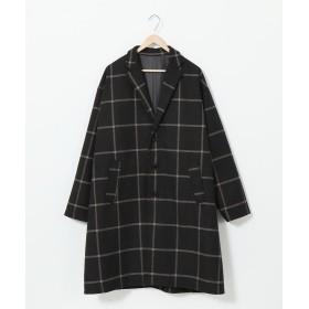 コーエン ワイドフィットブリティッシュチェックチェスターコート メンズ BLACK SMALL 【coen】