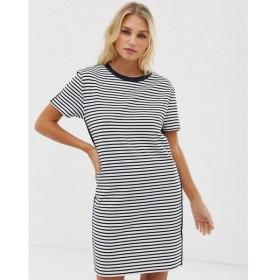 エスプリ Esprit レディース ワンピース ワンピース・ドレス stripe jersey t-shirt dress in white and navy Multi