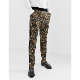 エイソス ASOS EDITION メンズ スラックス ボトムス・パンツ skinny suit trousers in baroque printed sateen Black