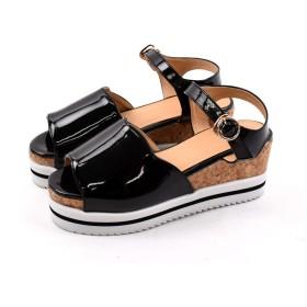 [Shoes in closet] 厚底ソールにコルクとラインの入った2層のソールデザインがアクセントに【1956】 (S, ブラック)