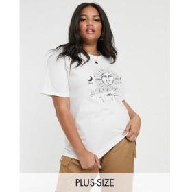 デイジーストリート Daisy Street Plus レディース Tシャツ トップス relaxed t-shirt with solstice print White