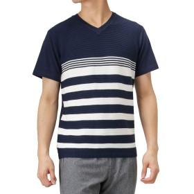 Real Standard(リアルスタンダード) マエミゴロニットキリカエTシャツ 半袖Tシャツ クルーネック サマーニット 92-7203P-RM メンズ ネイビー×ホワイト:L