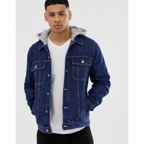 エイソス ASOS DESIGN メンズ ジャケット アウター denim jacket with jersey hood in dark wash Blue