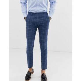 ジャンニ フェロー Gianni Feraud メンズ スラックス ボトムス・パンツ slim fit linen blend check suit trousers Blue