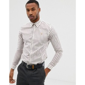 ファラー Farah Smart メンズ シャツ トップス Farah Dillard stripe shirt in off white White