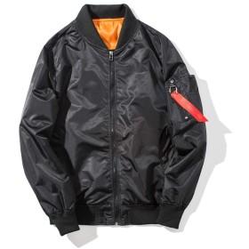 メンズ フライトジャケット ボンバージャケット MA-1 ジップアップ 無地 防寒 カジュアル ライダース コート アウター ブルゾン M ブラック